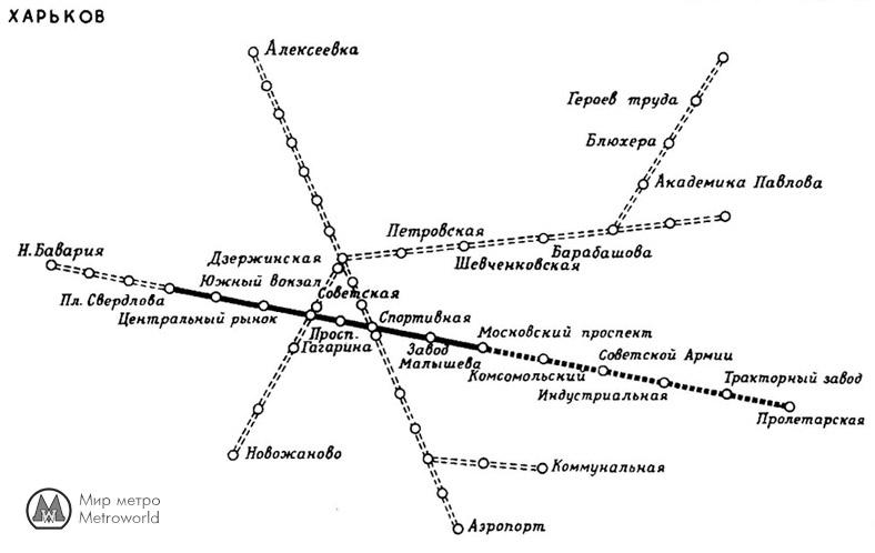 Схема Харьковского метрополитена 1977 года из Советской энциклопедии.